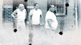 "Mafiosos sheepishly make their way outside, stripped down to their underwear on the ""Rob the Mob"" Blu-ray menu."