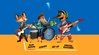 Bodi and his friends rock out in a still from Rock Dog's animated DVD main menu.