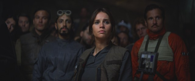 "In ""Rogue One: A Star Wars Story"", members of the Rebel Alliance like Jyn Erso (Felicity Jones) and Bodhi Rook (Riz Ahmed) try to steal the Empire's plans for the Death Star."