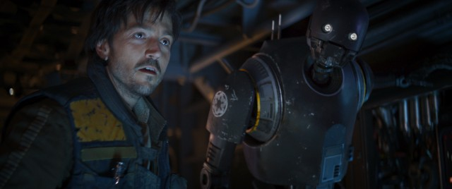 "Cassian Andor (Diego Luna) and the droid K-2SO (voiced by Alan Tudyk) number among the good guys of ""Rogue One."""
