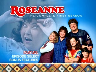 Roseanne gives herself scary eyes in the ethereal montage of the DVDs' main menu.