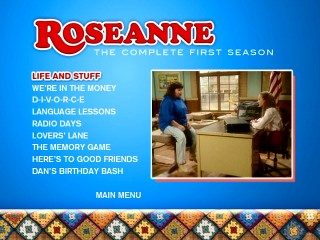 Roseanne's meeting with Darlene's history teacher appears when the first episode is highlighted on Disc 1's menu.