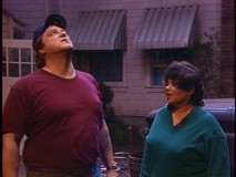 "Dan and Roseanne feel a storm coming on in ""Toto, We're Not in Kansas Anymore."""