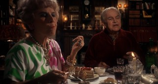 The Castevets, Minnie (Oscar-winning supporting actress Ruth Gordon) and Roman (Sidney Blackmer), waste no time extending a dinner invitation.