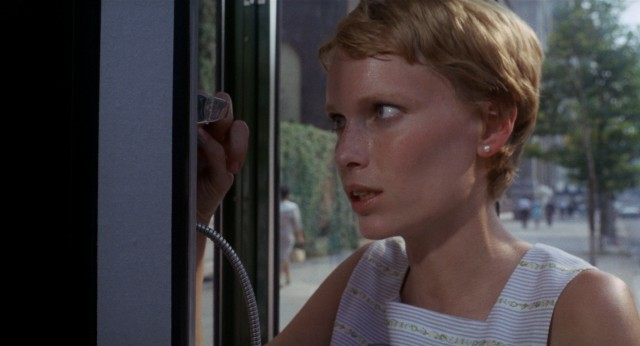 An anxious Rosemary (Mia Farrow) tries to get in touch with her original obstetrician.