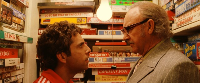 Chas (Ben Stiller) confronts Royal (Gene Hackman) in a closet filled with the family's many old board games.