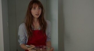 Ruby Sparks (Zoe Kazan), the young woman of Calvin's dreams and writings, becomes real and his serious girlfriend.