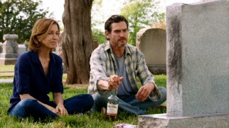 Sam (Billy Crudup) and ex-wife Emily (Felicity Huffman) visit their son's grave in the scene that changes everything with a big twist.