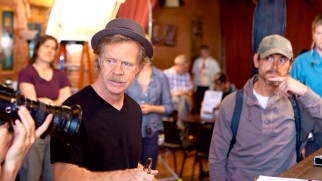 "William H. Macy acts with and directs Billy Crudup in this behind-the-scenes still from ""Hear This Song."""