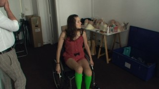 "In ""Making 'Rust and Bone'"", Marion Cotillard wears bright green knee-high socks so that her lower legs can be digitally removed."