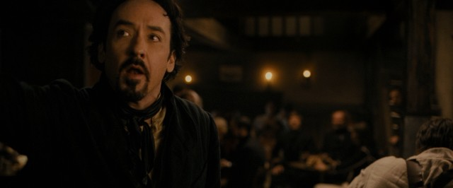 "Edgar Allan Poe (John Cusack) promises a free drink to anyone who can finish this line ""Quoth the raven..."""