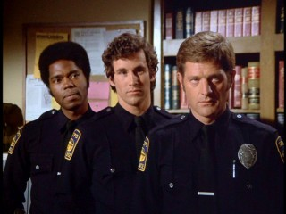 The second year police officers Terry Webster (Georg Stanford Brown), Willie Gillis (Michael Ontkean), and Mike Danko (Sam Melville) share a very staged three-shot.