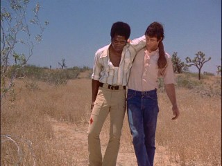 "Stranded together in the desert, Willie (Michael Ontkean) allows the more seriously wounded Terry (Georg Stanford Brown) to lean on him when he's not strong in Season 2 premiere ""Cauldron."""