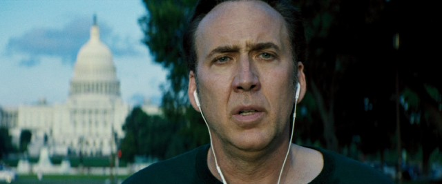 Colin Pryce (Nicolas Cage) stops his run and looks directly into the camera for The Runner's not so powerful closing shot.