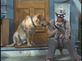 Though there's a dog, it's the raccoon in his lap that Sterling (Bill Mumy) names Rascal and befriends.