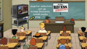 "School's in on the ""Recess: School's Out"" DVD main menu."