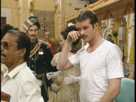 A mustachioed Cary Elwes on the set