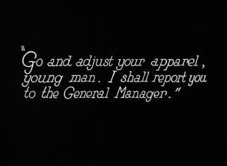 "As a silent film, ""Safety Last!"" uses intertitles to convey dialogue, such as this scolding Harold gets from his boss."