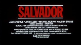 "Salvador's trailer ends with a fairly standard billing block that assigns the ""and"" credit to John Savage."