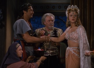 Samson's (Victor Mature) wedding to Semadar (Angela Lansbury) quickly hits a snag over a riddle and wager.
