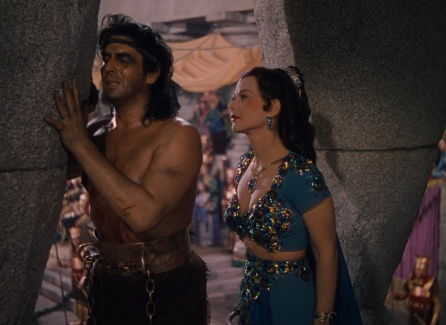 "Samson (Victor Mature) may be blind and doughy, but Delilah (Hedy Lamarr) still thinks he's kind of dreamy in Cecil B. DeMille's ""Samson and Delilah."""