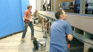 Off to the side of every earthquake movie are men making the sets shake.