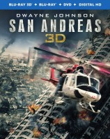 San Andreas: Blu-ray 3D + Blu-ray + DVD + UltraViolet combo pack cover art -- click to buy from Amazon.com