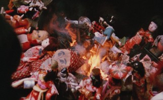 Only in Japan: broken dolls are ceremoniously burned.