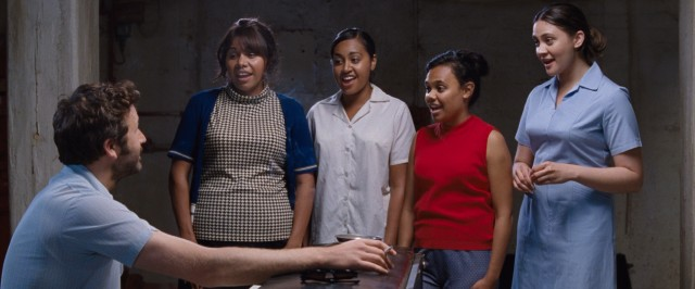 "Manager Dave Lovelace (Chris O'Dowd) helps Gail (Deborah Mailman), Julie (Jessica Mauboy), Cynthia (Miranda Tapsell), and Kay (Shari Sebbens) find their sound in ""The Sapphires."""