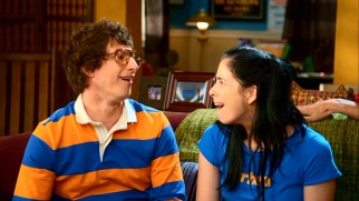 "Sarah reconnects with her now grown-up imaginary childhood friend Troy Bulletinboard (Andy Samberg) in ""Smellin' of Troy."""