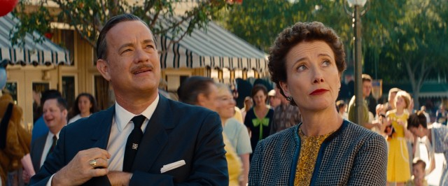 "Walt Disney (Tom Hanks) takes P.L. Travers (Emma Thompson) around Disneyland in a fun scene invented for #67, ""Saving Mr. Banks."""