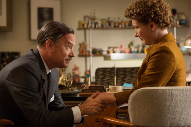 "Walt Disney (Tom Hanks) tries to keep P.L. Travers (Emma Thompson) happy while adapting her Mary Poppins books in ""Saving Mr. Banks."""