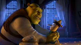 "Shrek tries to settle down an out-of-control Pinocchio in ""The Shreksorcist."""