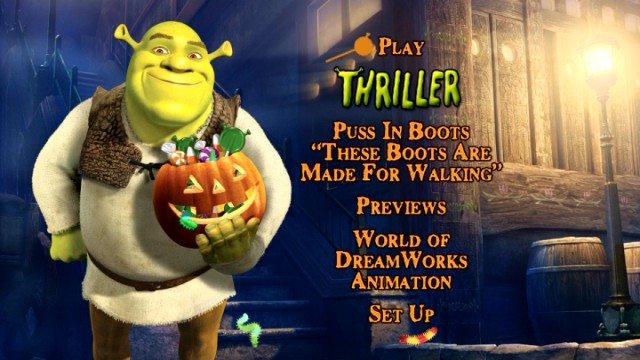 "The ""Scared Shrekless"" DVD main menu. Happy Halloween from Shrek and friends -- don't ogre-eat!"