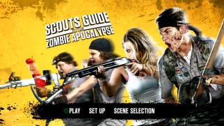 The Scouts Guide to the Zombie Apocalypse DVD main menu resembles the Blu-ray's, only without a bonus features section.