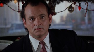 IBC president Frank Cross (Bill Murray) is surprised to find himself in the festive backseat of a NYC cab driven by the Ghost of Christmas Past.