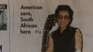 A headline succinctly sums up Rodriguez's unusual career: American zero, South African hero.