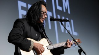 "An alive and well Rodriguez treats moviegoers to a performance of ""Inner City Blues"" at the film's 2012 Tribeca Film Festival premiere."