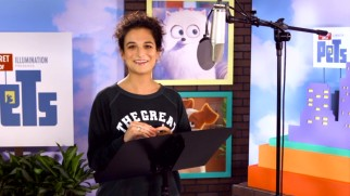 "Jenny Slate has fun for the cameras in ""Animals Can Talk."""