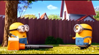 "Minions clown around on a landscaping job in the mini-movie ""Mower Minions."""