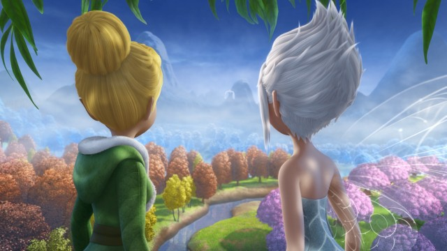 Tinker Bell and Periwinkle look on as an icy chill threatens to destroy Pixie Hollow.