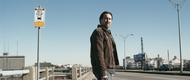 "Nicolas Cage is ""Seeking Justice"" at a New Orleans bus stop."