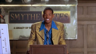 Darryl (Marlon Wayans) vies for Smythe/Bates' junior analyst position in a ridiculous polyester suit.