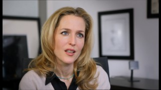 A blonde Gillian Anderson maintains her convincing British accent for part of her interview.