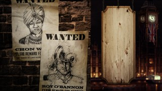 Updated Chon and Roy wanted posters adorn the Shanghai Knights Blu-ray menu.