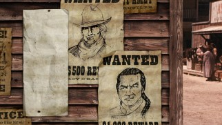 Chon and Roy's wanted posters adorn the Shanghai Noon Blu-ray menu.