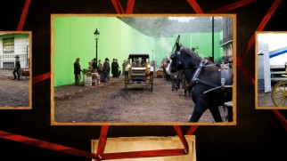 One of many stills in many galleries, this image shows filming on location with green screen walls around.