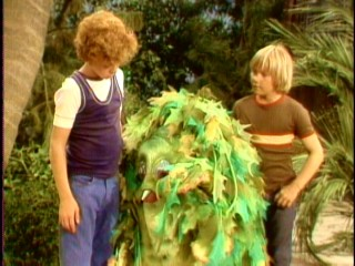"Two brothers (Johnny Whitaker and Scott Kolden) befriend a friendly young sea monster in the 1970s Krofft Brothers television series ""Sigmund and the Sea Monsters."""