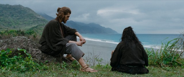 "A remorseful Japanese Christian (Yôsuke Kubozuka) confesses his sins to Father Rodrigues (Andrew Garfield) in one of the more breathtaking shots of Martin Scorsese's ""Silence."""