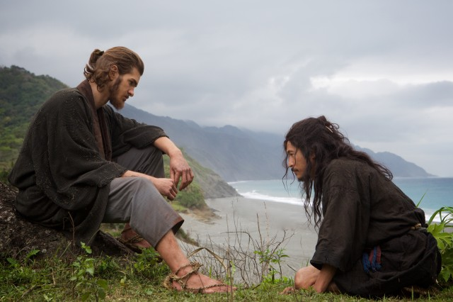 "Father Sebastião Rodrigues (Andrew Garfield), a Jesuit missionary from Portugal, hears the confession of his tormented guide Kichijiro (Yôsuke Kubozuka) in Martin Scorsese's ""Silence."""
